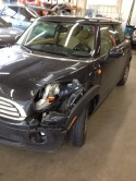 Mini Cooper front end damage before repairs